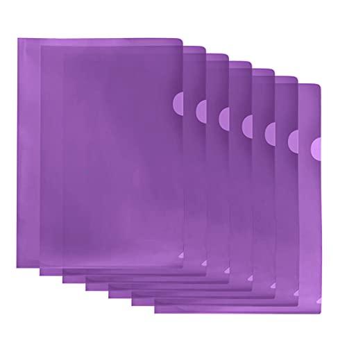 クリアファイル 20枚セット A4 縦 ファイル ケース 防水 高透明カラー 薄型 書類整理 資料収納 バッグ カバン (パープル)