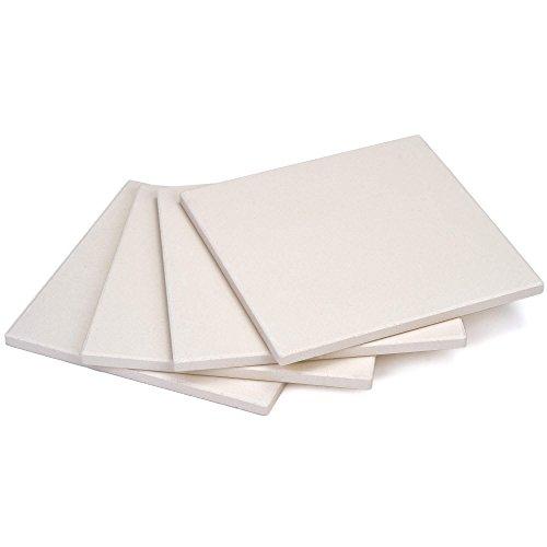 GRÄWE Pizzastein, 4er Set - Brotback-Ofenstein aus Cordierit, 19 × 19 cm, weiß