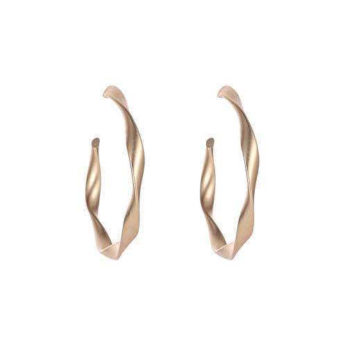 Larancie Pendientes minimalistas trenzados de oro pendientes aros mate joyas para mujeres y niñas