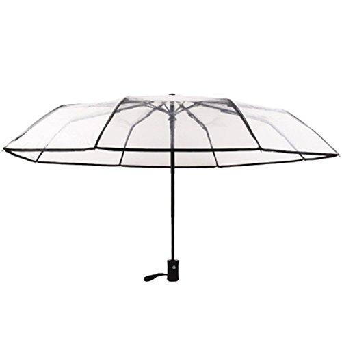 Qinlee Transparent Automatischer Regenschirm Mini Regenschirme Frische Sonnencreme 8 Falten Sonnenschutz Regenschirm Innovative Ultraleicht Tasche Falten Schwarzer Regenschirm der Männer