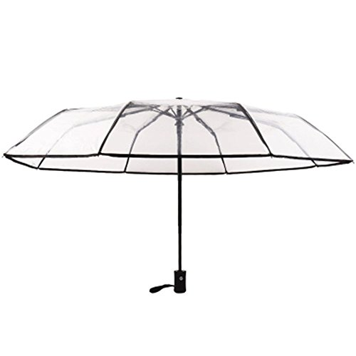 Kentop Paraguas Transparente Plegable automático Paraguas automático con botón, Negro, 23 *...