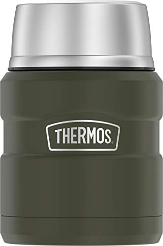 THERMOS Stainless King Vacuum-Insulated Food Jar with Spoon, 16 Ounce, Matte Green