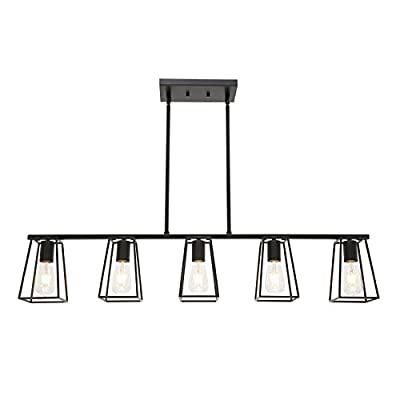 MELUCEE 5-Light Kitchen Island Lighting Farmhouse Dining Room Lighting Fixtures Hanging Black Finish with Metal Open Cage, Linear Chandeliers Industrial Pool Table Light