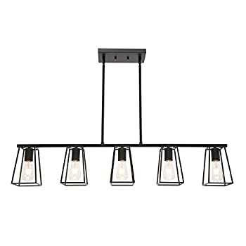MELUCEE 5-Light Kitchen Island Lighting Farmhouse Dining Room Lighting Fixtures Hanging Black Finish with Metal Open Cage Linear Chandeliers Industrial Pool Table Light