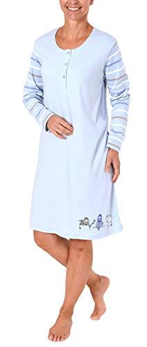 NORMANN-Wäschefabrik Damen Interlock Nachthemd mit süssem Hunde Motiv - auch in Übergrössen - 281 213 96 226, Farbe:hellblau, Größe2:40/42