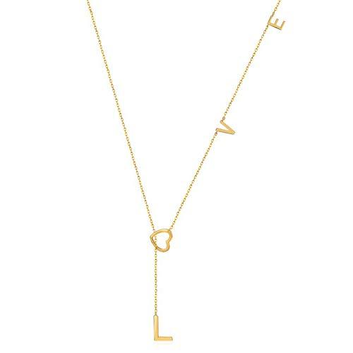 KnSam Collar para mujer de plata de ley 925 bañada en oro amarillo de 9 quilates, con corazón de oro