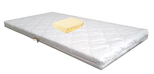 Baby schuimkernmatras Comfort gewatteerd 60 x 120 wit + jersey hoeslaken geel babymatras matras schuimstof laken