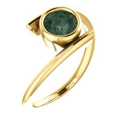 JewelryWeb Ring 14 Karat Gelbgold rund 5,5 mm poliert Chatham Labor hergestellt Alexandrit Größe M 1/2