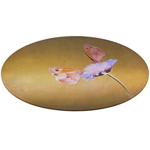 Felpudo redondo de terciopelo con diseño de mariposa, diseño de mariposa, color coral, felpudo de forro polar, ideal como regalo para cumpleaños a blanco, talla única