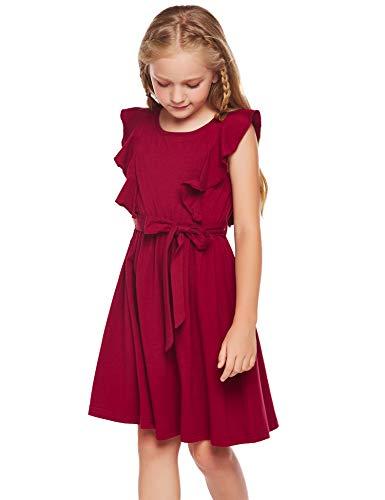 trudge Kleid Mädchen Rüschenarm Sommer A-Linie Baumwolle Prinzessin T-Shirt Kleider ärmellos Fattern Skaterkleid Rundhals Freizeitkleidung mit Gürtel Rot 110