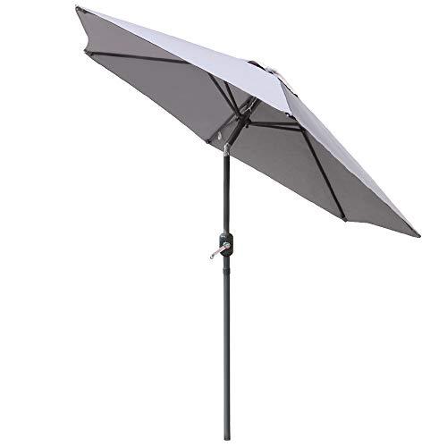 Greenbay 2.5M Round Garden Parasol Umbrella Patio Outdoor Sun Shade Aluminium Crank Tilt Mechanism Grey