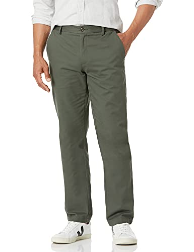 Amazon Essentials – Pantalon chino à coupe droite infroissable sans pince pour homme, Vert (Olive), 29W x 34L