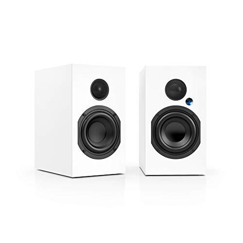 Nubert nuBox A-125 Regallautsprecherpaar | Lautsprecher mit Bluetooth aptX | Schreibtischlautsprecher für Homeoffice| aktive Regalboxen mit 2 Wege Technik | Kompaktlautsprecherset Weiß | 2 Stück
