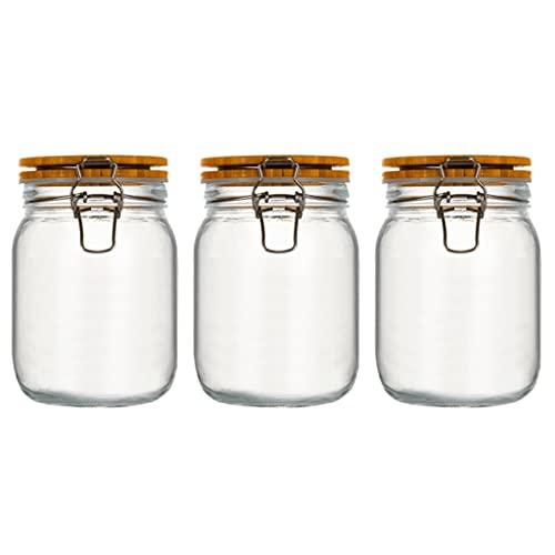 YHYH Botes Paquete De 3 Botes De Vidrio para Cocina,Tarro Hermético De Vidrio Sin Plomo con Tapa De Bambú,Recipientes Transparentes para Frascos (Color : 3pcs 1100ml)