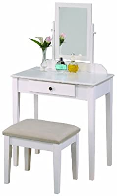 white vanity table with stool