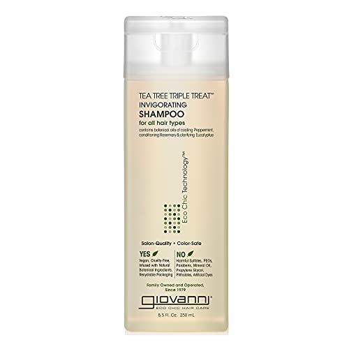 Shampoing Tea Tree Triple Treat™ - Apaise les démangeaisons et les cuirs chevelus sec - Avec de la menthe poivrée rafraîchissante, du romarin revitalisant et de l'eucalyptus clarifiant - Pour tous les types de cheveux - Sans paraben, sulfate de lauryl ou laurier, colorants ou PEG - Vegan et non testé sur les animaux - 250ml Shampoing - Par Giovanni