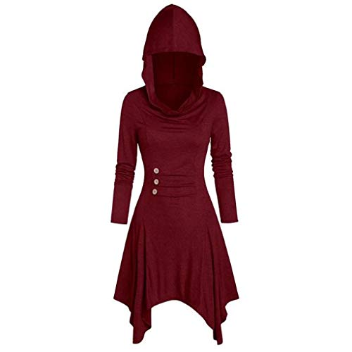 ReooLy Disfraces de Mujer con Cordones y Capucha Vintage Pullover High Low Vendaje Vestido Largo Capa(L,Vino)