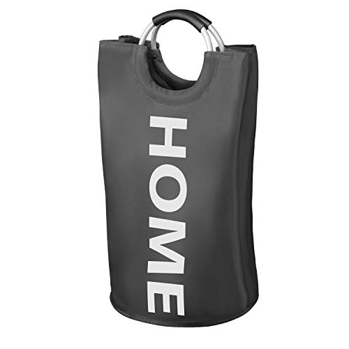 WELLENBORG® Premium Wäschekorb - [38x72cm | 82 Liter] - wasserabweisender Wäschesammler - Faltbarer Wäschekorb grau - einzigartige Wäschetonne - schöner Wäschesack in 3 Farben