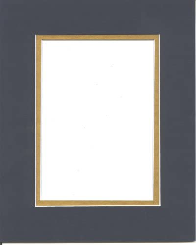 16x20 Navy Blue Gold Double Picture Mat Bevel Cut for 11x14 Picture or Photo product image