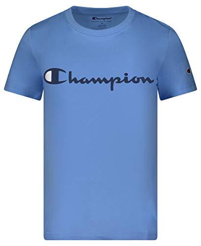 Champion Boys Short Sleeve Logo Tee Shirt (Small, Swiss Blue)