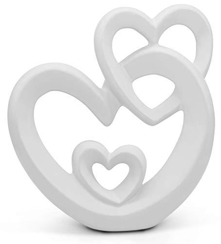FeinKnick harmonisches Herz zur Dekoration aus Keramik - modernes Dekoherz 27cm groß in Weiß - Deko in Herzform gut als Geschenk geeignet - Keramikherz