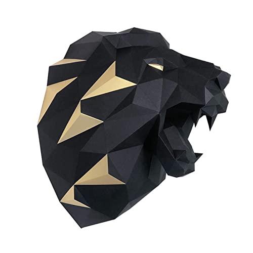 LWKBE DIY 3D Wolf Head Animal Papercraft Building Kit Moder de Pared -Stracta Wall Art Decor Animal Craft Kit,Negro