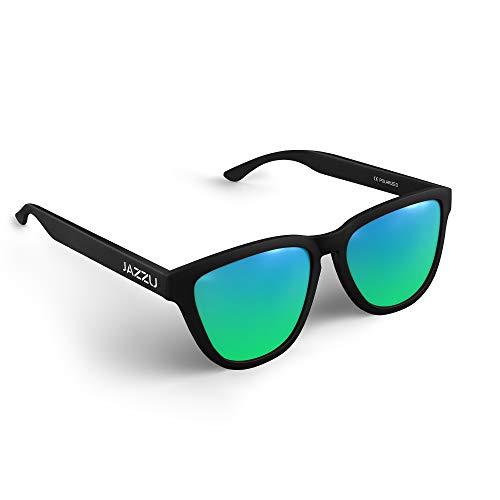 JAZZU - Gafas de Sol Polarizadas Unisex Deportivas Cuadradas, Efecto Espejo y Protección UV400 - Hombre y Mujer (Verde)