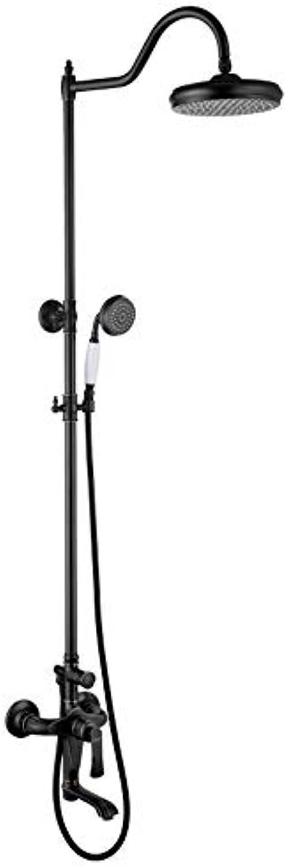 XSGDMN Messing Bad Dusche Wasserhahn Set, Duschsystem Regenmischer Combo Set enthalten raue Dusche Ventilkrper und Trim, leicht zu reinigende Düsen, schwarz