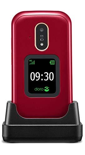Doro 7080 Téléphone Portable 4G Dual SIM à Clapet Débloqué pour Seniors avec GPS, Facebook, Whatsapp pour Les Appels Vidéo et Socle Chargeur Inclus [Version Française] (Rouge)