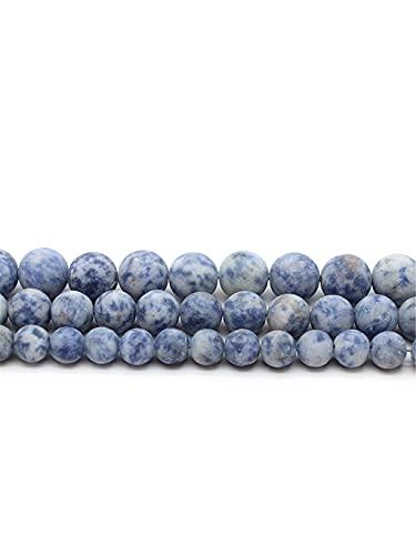 Cuentas de sodalita de piedra natural mate para hacer joyas DIY pulsera collar redondo cuentas sueltas 4/6/8/10/12 mm 15 pulgadas azul 8 mm aprox. 46 cuentas
