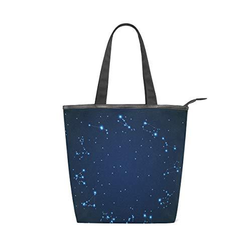 MONTOJ 12 Sternbilder Muster Handtaschen Schultertasche Tragetasche Tragetasche