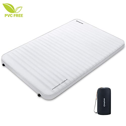 KingCamp Luxury 3D Double Self Inflating Camping Sleeping Pad Foam Air Mattress, Portable 3 Inch Large Thick Self Inflatable Camping Mattress for 2 Person, Twin, Couples, Queen Size, Waterproof