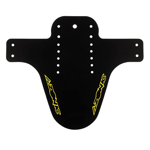 AZONIC | Parafango per Bici | Mountainbike Trekking E-Bike BMX MTB | Protegge dal Fango e dallo Sporco, con 7 Fori di Montaggio, in Polipropilene | Logo parafango Splatter | Nero Giallo Neon