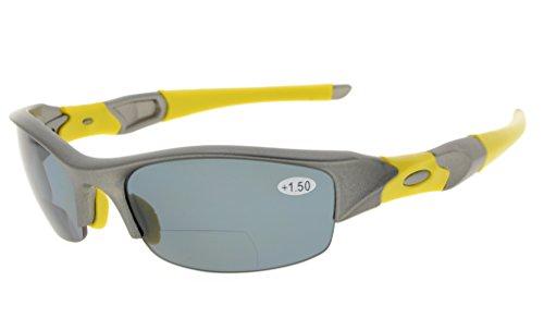 Eyekepper TR90 Unzerbrechlich Halbrand Sport Bifocal Sonnenbrillen Baseball Laufen Angeln Fahren Golf Softball Wandern Lesung Brille Grau Rahmen Grau Lens +2.0