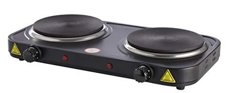 Dynamic24 Doppelkochplatte 2000W Elektro Kochplatte Herd Platte Kochfeld Camping schwarz