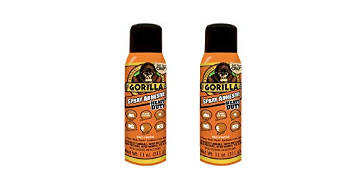 Gorilla Heavy Duty Spray Adhesive, Multipurpose and Repositionable, 11 ounce, Clear, (Pack of 2)