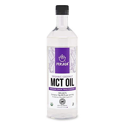 Prasada Organic MCT Coconut Oil (32oz) | 14g MCTs per Serving | USDA Organic, Non-GMO, BPA-Free Food-Grade Plastic Bottle | Keto Friendly | C8: 7.7g, C10: 6.1g