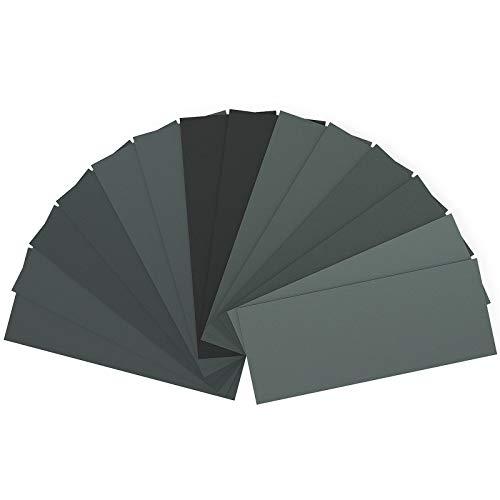 Schleifpapier Set, Körnung von 400 bis 2000, Wasserfest Nass & Trocken für automatisiertes Schleifen, Holz, Stein, Lack, Metall, Glas, 9 x 3,6 Zoll. (14 Stück)