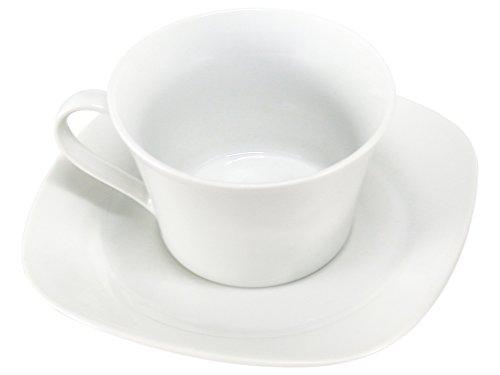 Home Confezione 4 tè con Piatto Deep Quadro Preparazione Colazione Arredo Tavola, Porcellana, Bianco, 4 Pezzi