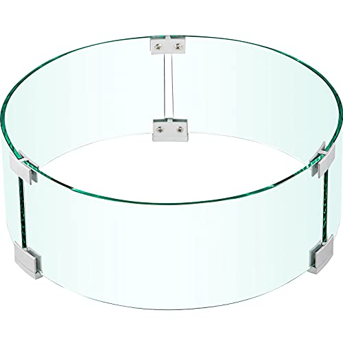 VEVOR Fire Pit Wind Guard, 17 x 17 x 6 Inch Glass Flame Guard, Round Glass Shield, 1/4-Inch Thick Fire Table, Clear Tempered Glass Flame Guard, Steady Feet Tree Pit Guard for Propane, Gas, Outdoor