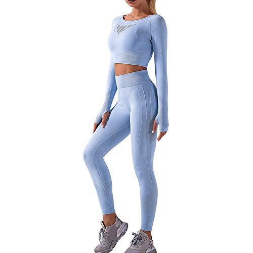 OEAK Damen Sportanzüge Jogginganzug Sport Sets Hosen und Sport Crop Top 2 Stücke Bekleidungssets Yoga Outfit Freizeitanzug Sportswear (Himmelblau D, S)