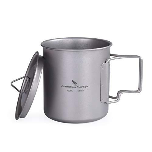 iBasingo Titan Tasse Camping Becher mit Deckel Klappgriff Outdoor Ultraleichter Tee Kaffee Wasserbecher Picknick Kochgeschirr 420ml Ti1544BI