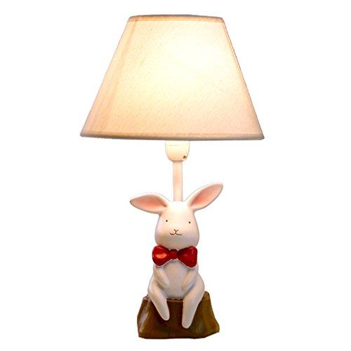 HEAQS creatief leuke witte konijnenkunst tafellamp, LED E27 dimming bureaulamp met stoffen lampenkap voor de slaapkamer, 20 cm * 36 cm T-20-4-11