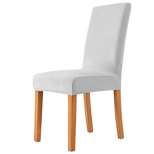MILARAN Samt Stuhlhussen für Esszimmer, Stretch elastische Stuhlüberzüge, waschbar abnehmbare Stuhlabdeckung, Spannbezug mit Gummiband(2 Stück,Hellgrau)