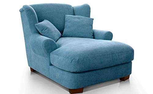 CAVADORE XXL-Sessel Oasis / Großer Polstersessel im modernen Design / Inkl. 2 schöne Zierkissen / 120 x 99 x 145 / Webstoff in hellblau