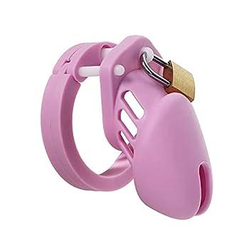 Anti-Off Breathable Chàṣtīty LǒckḌǒwn Chàṣtǐty Càgě Silicone Vịrginity Lock Pẹnịs Cạgẹs for Men Pĕnis Abŝtinence Chàstity Device 7FPS-Small-Pink
