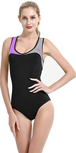 Cressi Damen DEA Swimming Wetsuit Neopren Badeanzug 1mm Neoprenanzug, Schwarz/Grau/Lila, L/4