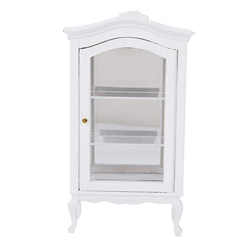 Denkerm Dockhus skåp brun, transparent dockhus hylla skåp, trä vit mini sovrum matsal för vardagsrum för dockor