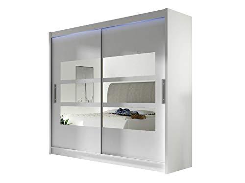 Kleiderschrank mit Spiegel London III, Schwebetürenschrank, Schiebetürenschrank, Modernes Schlafzimmerschrank 180x215x58cm, Garderobe, Schlafzimmer (Weiß, mit RGB LED Beleuchtung)