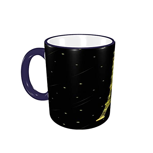 Taza de café Gloden Paris Torre Eiffel con Estrellas cayendo Alrededor, Tazas de cerámica de café con Asas para Bebidas Calientes - Té, Regalos de café 12 oz Navy Blue